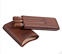 Visol Legend Brown Genuine Leather Cigar Case - Holds 3 Cigars